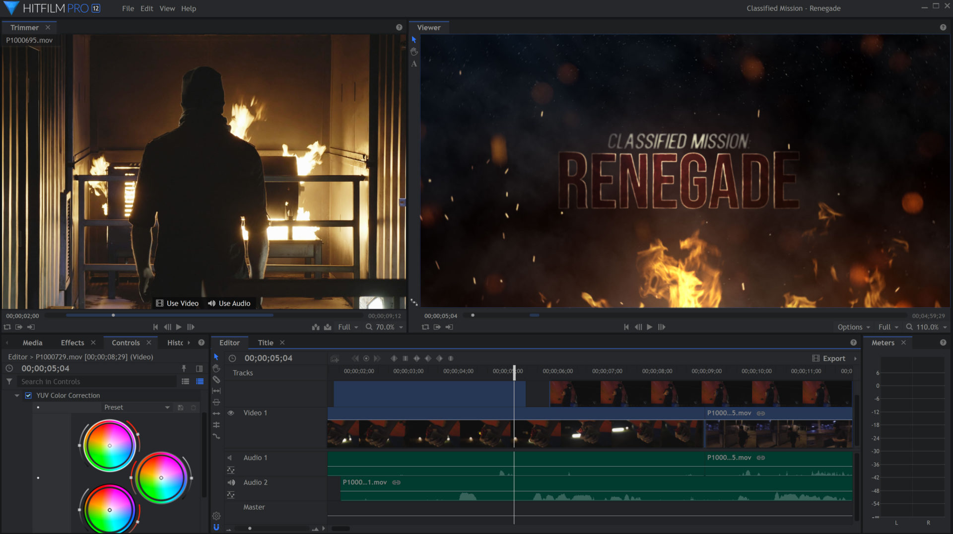 Hitfilm interface with our short film Renegade