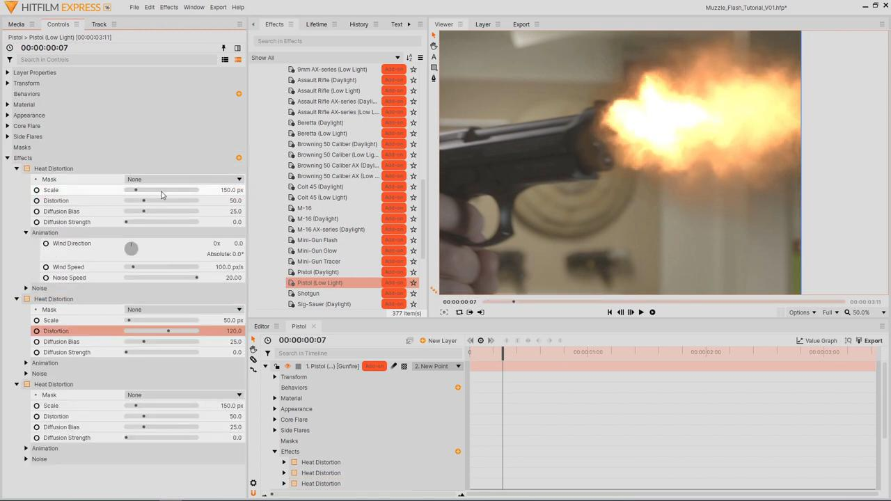Heat distortion effects - muzzle flash effects tutorial