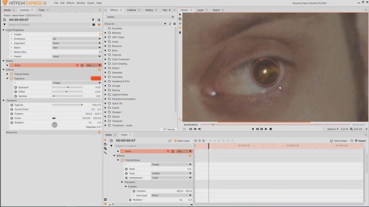 adding muzzle flash reflection to the eye