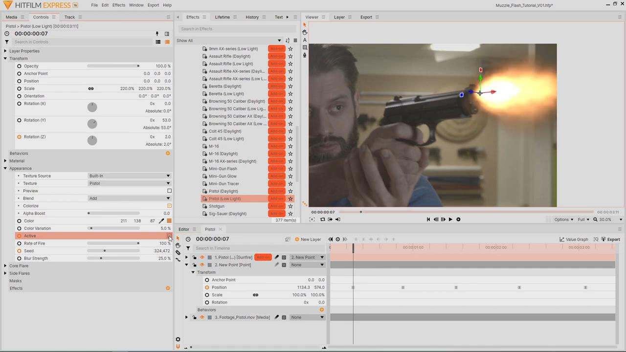 settings of the Pistol (Low-Light) preset - creating muzzle flash effects in HitFilm Express