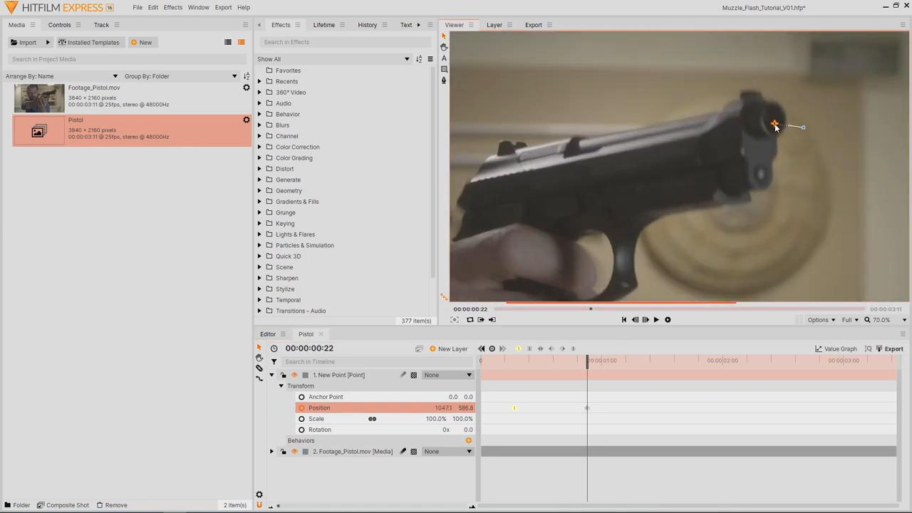 Tracking the muzzle of the gun - muzzle flash effects in HitFilm Express